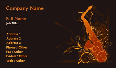 Black and Red Saxophone Silhouette Business Card Template